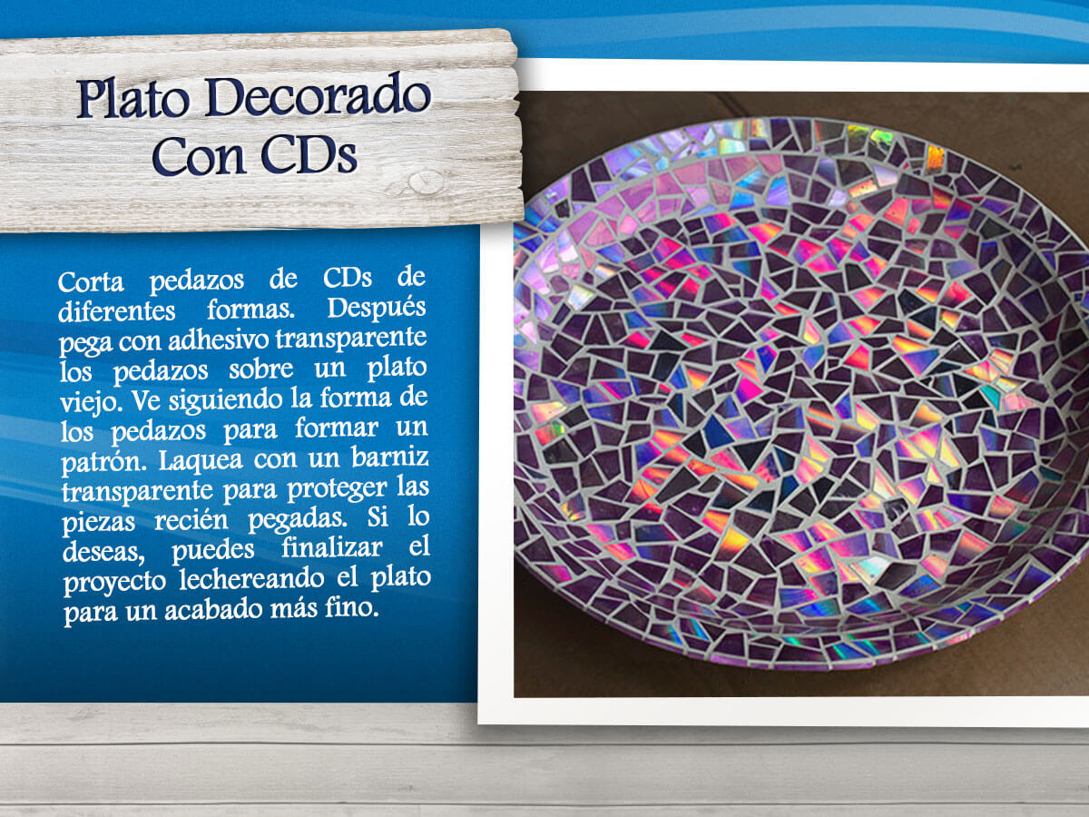 Plato decorado con CDs
